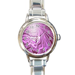 Light Pattern Abstract Background Wallpaper Round Italian Charm Watch