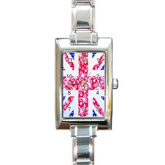 British Flag Abstract British Union Jack Flag In Abstract Design With Flowers Rectangle Italian Charm Watch