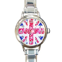 British Flag Abstract British Union Jack Flag In Abstract Design With Flowers Round Italian Charm Watch