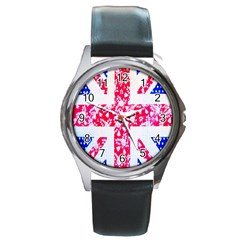 British Flag Abstract British Union Jack Flag In Abstract Design With Flowers Round Metal Watch