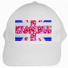 British Flag Abstract British Union Jack Flag In Abstract Design With Flowers White Cap