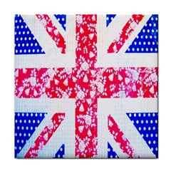 British Flag Abstract British Union Jack Flag In Abstract Design With Flowers Tile Coasters