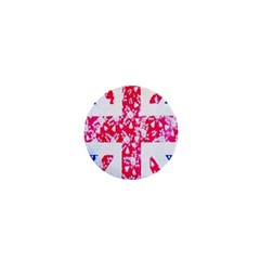 British Flag Abstract British Union Jack Flag In Abstract Design With Flowers 1  Mini Buttons