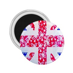 British Flag Abstract British Union Jack Flag In Abstract Design With Flowers 2.25  Magnets
