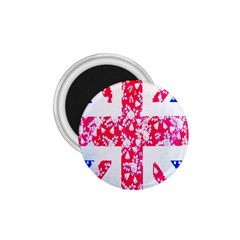 British Flag Abstract British Union Jack Flag In Abstract Design With Flowers 1.75  Magnets