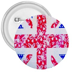 British Flag Abstract British Union Jack Flag In Abstract Design With Flowers 3  Buttons