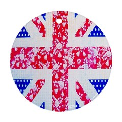 British Flag Abstract British Union Jack Flag In Abstract Design With Flowers Ornament (Round)