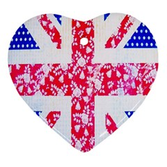 British Flag Abstract British Union Jack Flag In Abstract Design With Flowers Ornament (Heart)