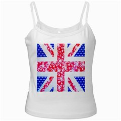 British Flag Abstract British Union Jack Flag In Abstract Design With Flowers White Spaghetti Tank