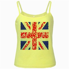 British Flag Abstract British Union Jack Flag In Abstract Design With Flowers Yellow Spaghetti Tank