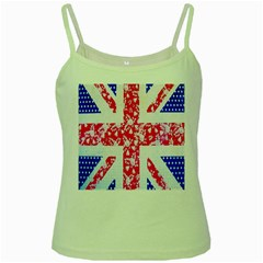 British Flag Abstract British Union Jack Flag In Abstract Design With Flowers Green Spaghetti Tank