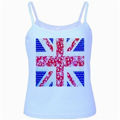 British Flag Abstract British Union Jack Flag In Abstract Design With Flowers Baby Blue Spaghetti Tank