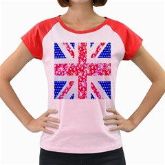 British Flag Abstract British Union Jack Flag In Abstract Design With Flowers Women s Cap Sleeve T-Shirt