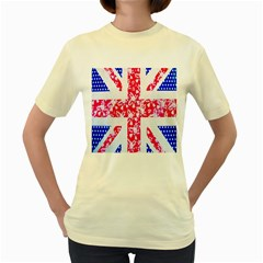British Flag Abstract British Union Jack Flag In Abstract Design With Flowers Women s Yellow T-Shirt
