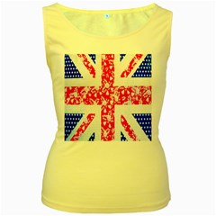 British Flag Abstract British Union Jack Flag In Abstract Design With Flowers Women s Yellow Tank Top