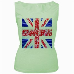 British Flag Abstract British Union Jack Flag In Abstract Design With Flowers Women s Green Tank Top