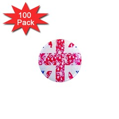 British Flag Abstract British Union Jack Flag In Abstract Design With Flowers 1  Mini Magnets (100 Pack)