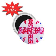 British Flag Abstract British Union Jack Flag In Abstract Design With Flowers 1 75  Magnets (10 Pack)