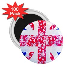 British Flag Abstract British Union Jack Flag In Abstract Design With Flowers 2.25  Magnets (100 pack)