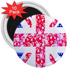 British Flag Abstract British Union Jack Flag In Abstract Design With Flowers 3  Magnets (10 pack)