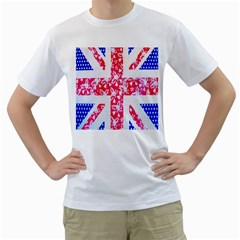 British Flag Abstract British Union Jack Flag In Abstract Design With Flowers Men s T Shirt (white) (two Sided)