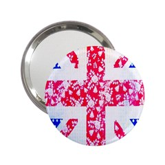 British Flag Abstract British Union Jack Flag In Abstract Design With Flowers 2.25  Handbag Mirrors