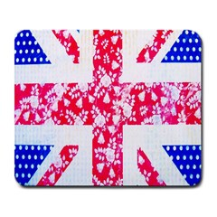 British Flag Abstract British Union Jack Flag In Abstract Design With Flowers Large Mousepads