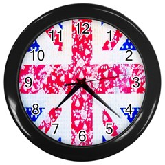 British Flag Abstract British Union Jack Flag In Abstract Design With Flowers Wall Clocks (black)