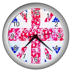 British Flag Abstract British Union Jack Flag In Abstract Design With Flowers Wall Clocks (Silver)