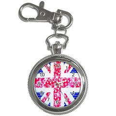 British Flag Abstract British Union Jack Flag In Abstract Design With Flowers Key Chain Watches