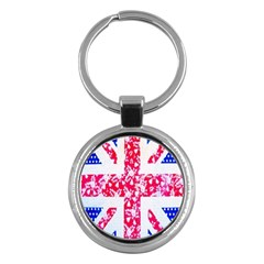 British Flag Abstract British Union Jack Flag In Abstract Design With Flowers Key Chains (Round)