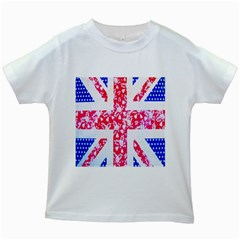 British Flag Abstract British Union Jack Flag In Abstract Design With Flowers Kids White T-Shirts