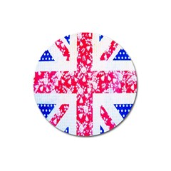British Flag Abstract British Union Jack Flag In Abstract Design With Flowers Magnet 3  (round)