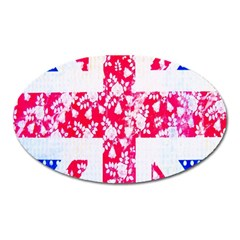 British Flag Abstract British Union Jack Flag In Abstract Design With Flowers Oval Magnet