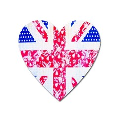 British Flag Abstract British Union Jack Flag In Abstract Design With Flowers Heart Magnet