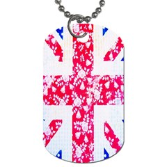 British Flag Abstract British Union Jack Flag In Abstract Design With Flowers Dog Tag (One Side)