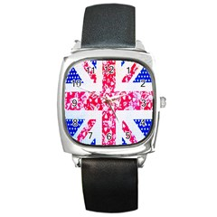 British Flag Abstract British Union Jack Flag In Abstract Design With Flowers Square Metal Watch