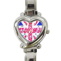British Flag Abstract British Union Jack Flag In Abstract Design With Flowers Heart Italian Charm Watch