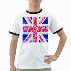 British Flag Abstract British Union Jack Flag In Abstract Design With Flowers Ringer T-Shirts