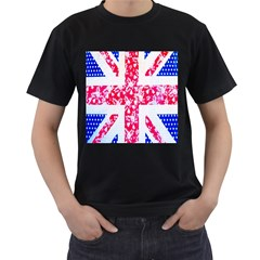 British Flag Abstract British Union Jack Flag In Abstract Design With Flowers Men s T-Shirt (Black) (Two Sided)