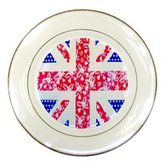 British Flag Abstract British Union Jack Flag In Abstract Design With Flowers Porcelain Plates