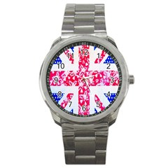 British Flag Abstract British Union Jack Flag In Abstract Design With Flowers Sport Metal Watch