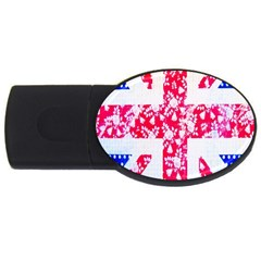 British Flag Abstract British Union Jack Flag In Abstract Design With Flowers USB Flash Drive Oval (4 GB)