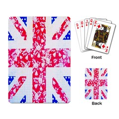 British Flag Abstract British Union Jack Flag In Abstract Design With Flowers Playing Card