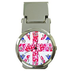 British Flag Abstract British Union Jack Flag In Abstract Design With Flowers Money Clip Watches