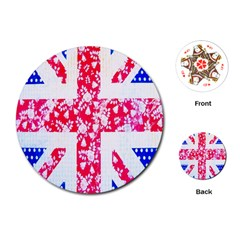British Flag Abstract British Union Jack Flag In Abstract Design With Flowers Playing Cards (Round)