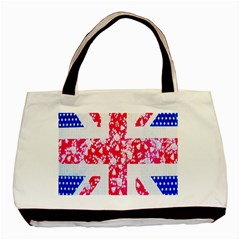 British Flag Abstract British Union Jack Flag In Abstract Design With Flowers Basic Tote Bag