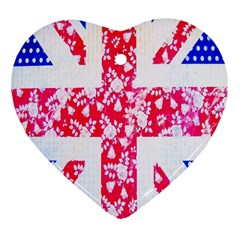 British Flag Abstract British Union Jack Flag In Abstract Design With Flowers Heart Ornament (Two Sides)