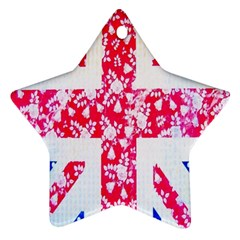 British Flag Abstract British Union Jack Flag In Abstract Design With Flowers Star Ornament (Two Sides)