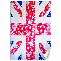 British Flag Abstract British Union Jack Flag In Abstract Design With Flowers Canvas 12  X 18